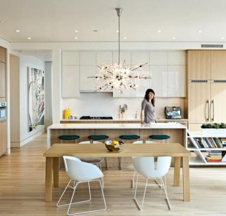 Love Our Bubbles Glass Chandelier Shown In This Modern Kitchen. In This  Setting, The Chandelier Helps To Soften The Dramatic Lines Of The Furniture  And ...