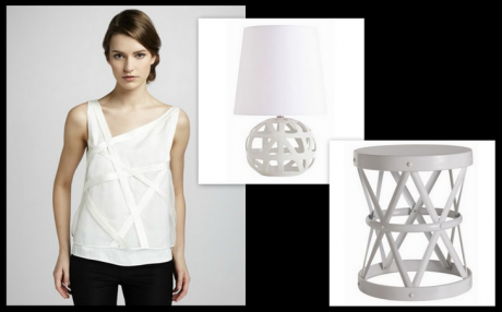 We love this Robert Rodriguez Bias Tank, and how our Wendy Lamp and our Costello Side Table mimic this style, beautifully!  Arteriors Home Wendy Lamp($235) and Costello Side Table($820), www.claytongrayhome.com.