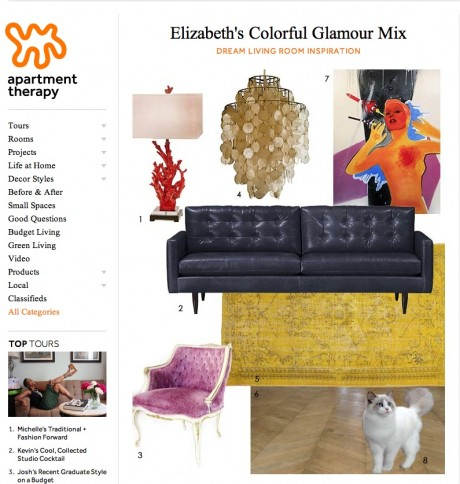 Here our Red Coral Lamp is shown, among Elizabeth's other favorites for her dream glamour-inspired living room.