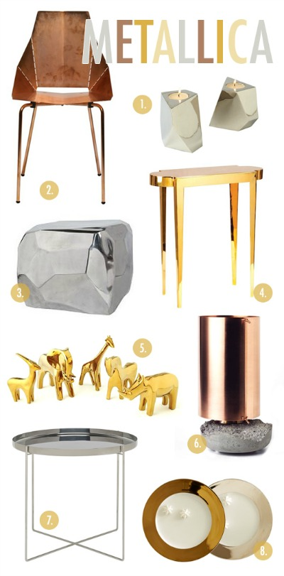 We love all of these metal hued accessories for your home!  Thanks again SF Girl By Bay and Coco Kelly for the mention!  (Images courtesy of SF Girl By Bay.)