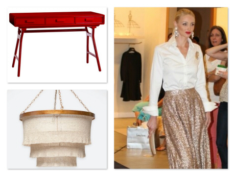 We loved how the flow fabulous sequined skirt reminded us of our Patricia Chandelier by Made Goods, and the models lips immediately brought the Philip Desk by Arteriors Home, to mind. (photo courtesy of Farrah Estrella)
