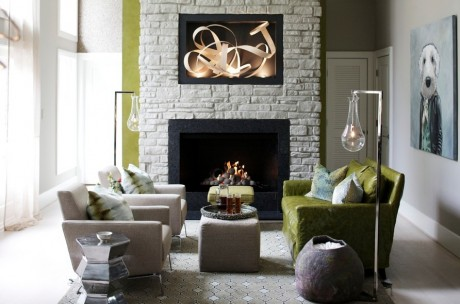 Arteriors home worlds away and more seen in this raleigh renovation our arteriors home sabine floor lamps shown with an updated high gloss monochromatic fireplace surround and transitional accessories that play off of aloadofball Image collections