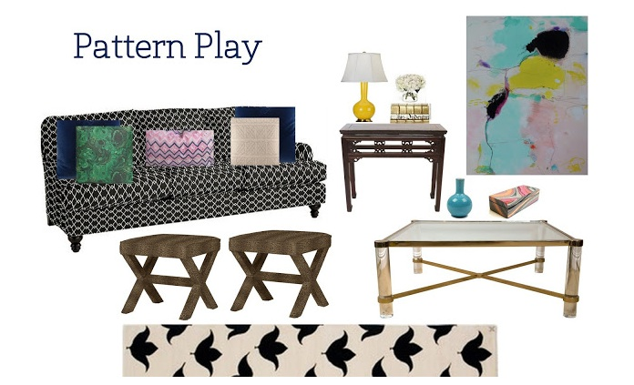 Here our Iris Lacquered Pencil Box plays off of layering patterns to create Lindsay's ideal eclectic gathering spot!