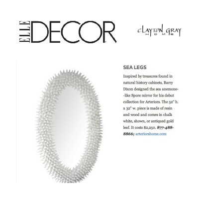 Our Arteriors Home Spore Mirror in White by Barry Dixon, featured in Elle Decor, this month!