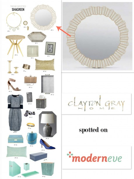 Our Claude Faux Shagreen Mirror by Made Goods spotted last week on Modern Eve!
