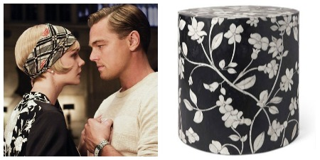 Here, Daisy and Gatsby share a moment alone...we cannot help but think his deeper gaze is directed at her beautiful floral top, which perfectly represents Made Goods Lola Drum Stool in Black.