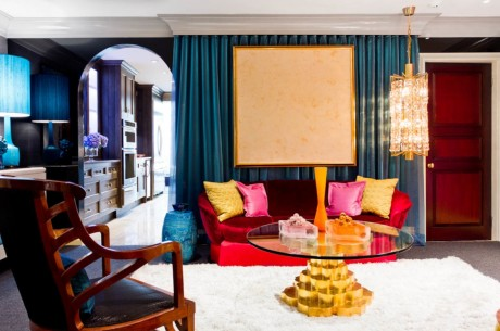 Gilded and jeweled!  We love the modern glamour of this living room designed by Andrew Suvalsky Designs.  (Photo courtesy of Rikki Snyder/Houzz)