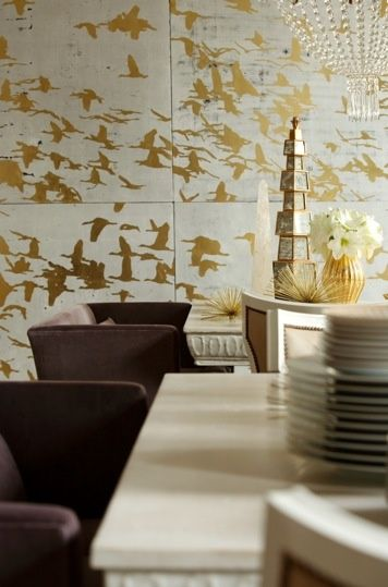 gold + white dining