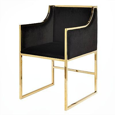Worlds Away Anabelle Chair Brass Black