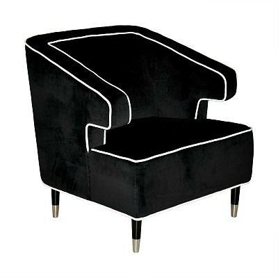 Worlds Away Arthur Black Chair
