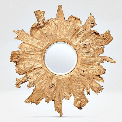 MG Floris Round Gold Wood Mirror 1
